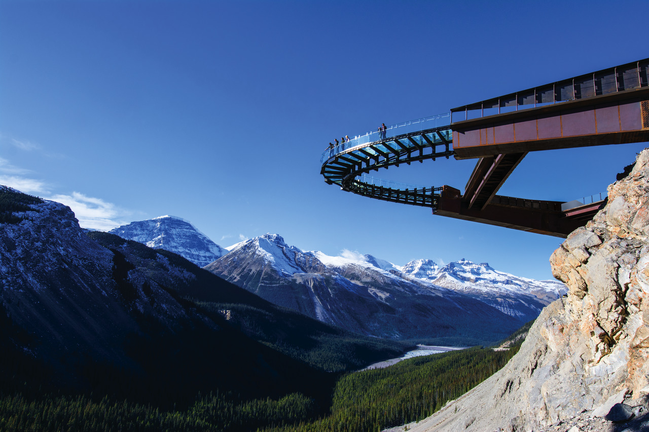 Skywalk with Blue Sky in the background with mountains